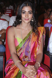 Actress Pooja Hegde Pictures in Saree at Manam 100 Days Event  0003