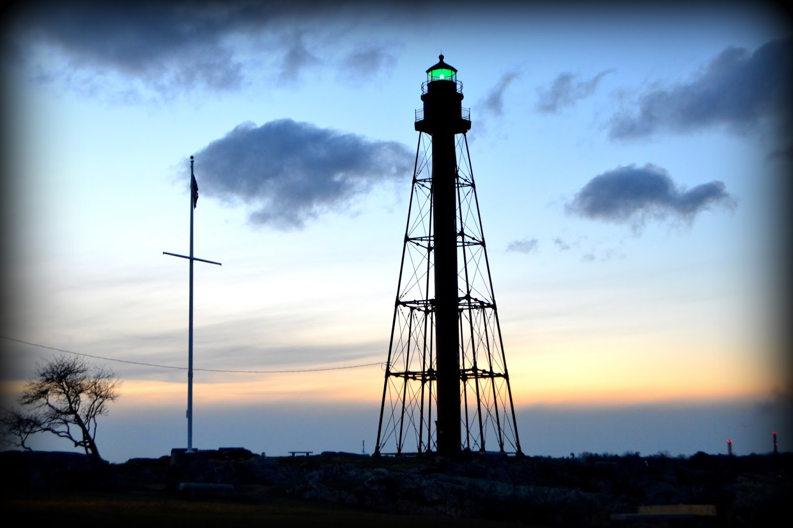lighthouse, green, light, sundown, sunset, park, marblehead