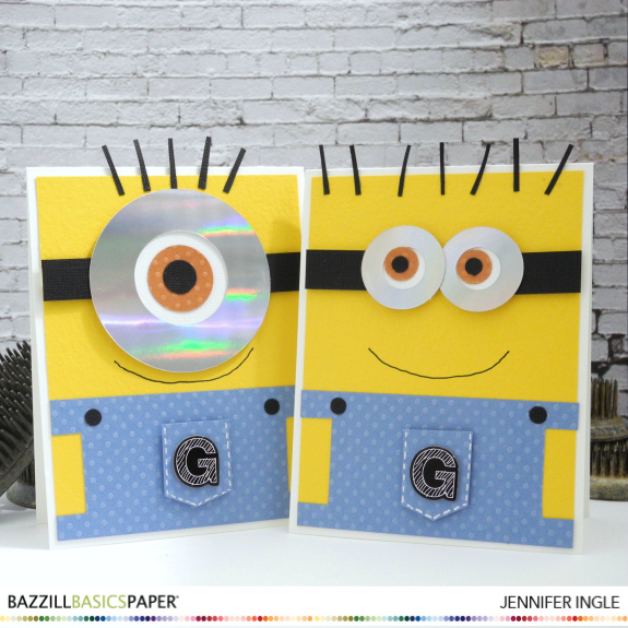 Minion card by Jennifer Ingle @Jingle @bazzillbasics #bazzillbasics #dottedswiss #justjingle #minions