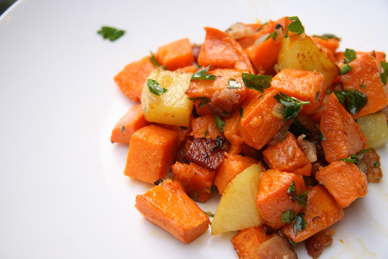 Sweet Potato Salad with Shallots and Bacon | Feast of Joy