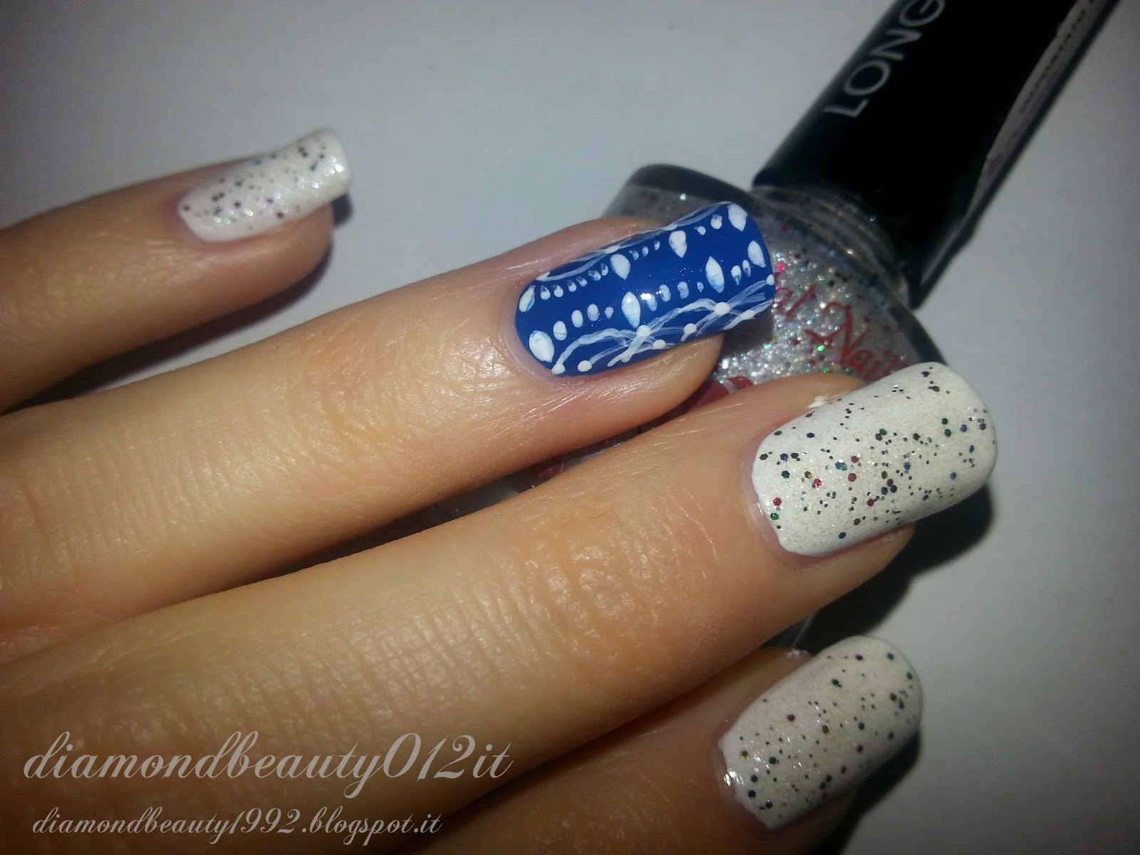 blue merletto nails crystal nails