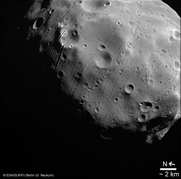 Photograph of Martian moon Phobos by Mars Express