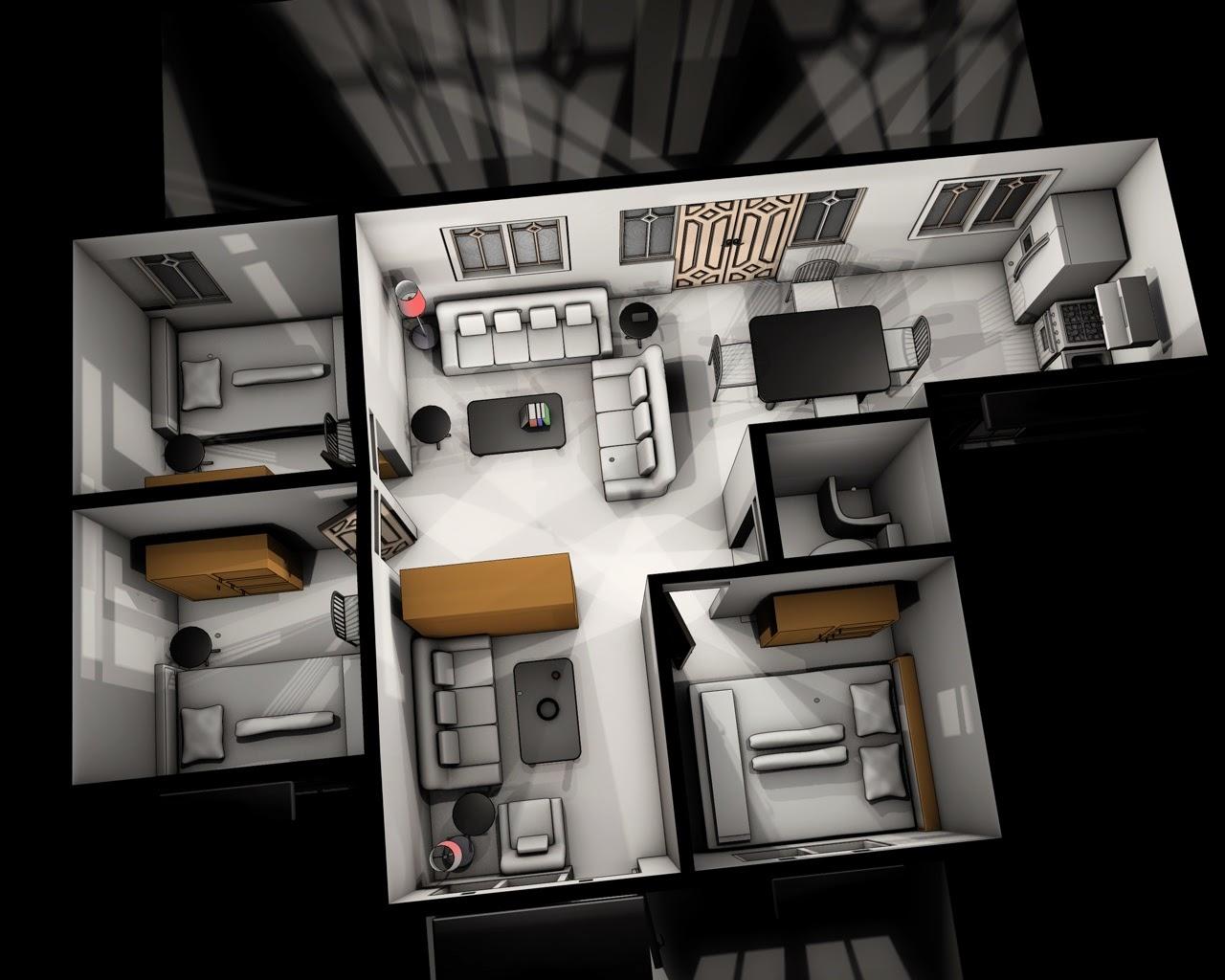 Denah Rumah Minimalis Modern 1 Lantai