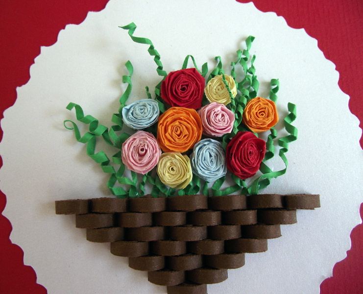 How To Make A Quilling Flower Basket : Paper quilling flower basket pixshark images