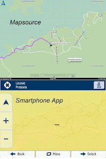 Detailvergleich der Karten App vs Mapsource
