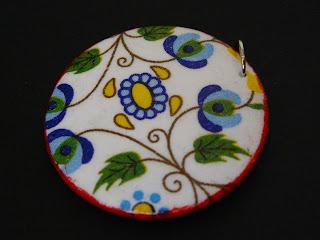 biżuteria decoupage - kaszubski komplet (zawieszka)