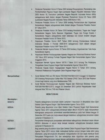 Pengumuman Kelulusan Test CPNS K2 Kemenag Kementerian Agama Tahun 2013 dari Pelamar Umum (3)
