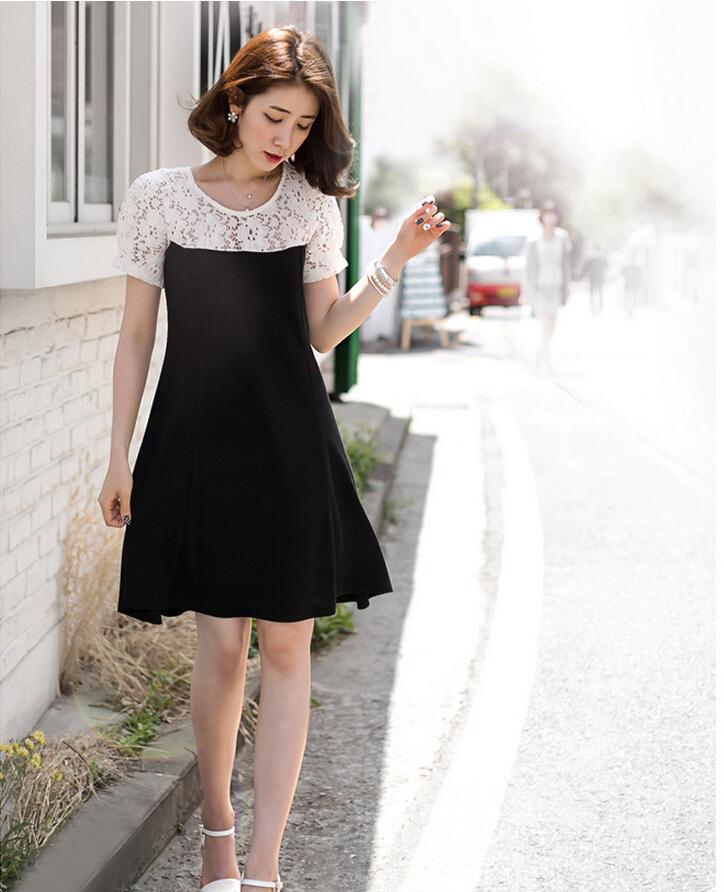 Busana: Dress Lace Putih Hitam (BSF-266)