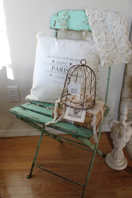 Vintage sparkle chic shabby green bistro chair and etsy shop for Country francese arredamento