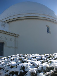 Snow-covered shrubbery at Lick Observatory, Mt. Hamilton, San Jose, California