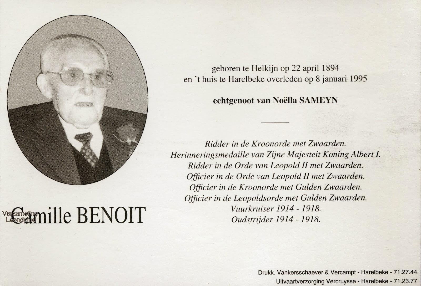 Bidprentje van oud-strijder/vuurkruiser Camille Benoit 1894-1995