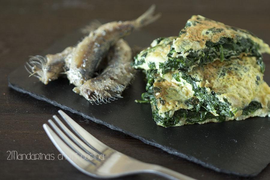 Tortilla de espinacas con sardinas