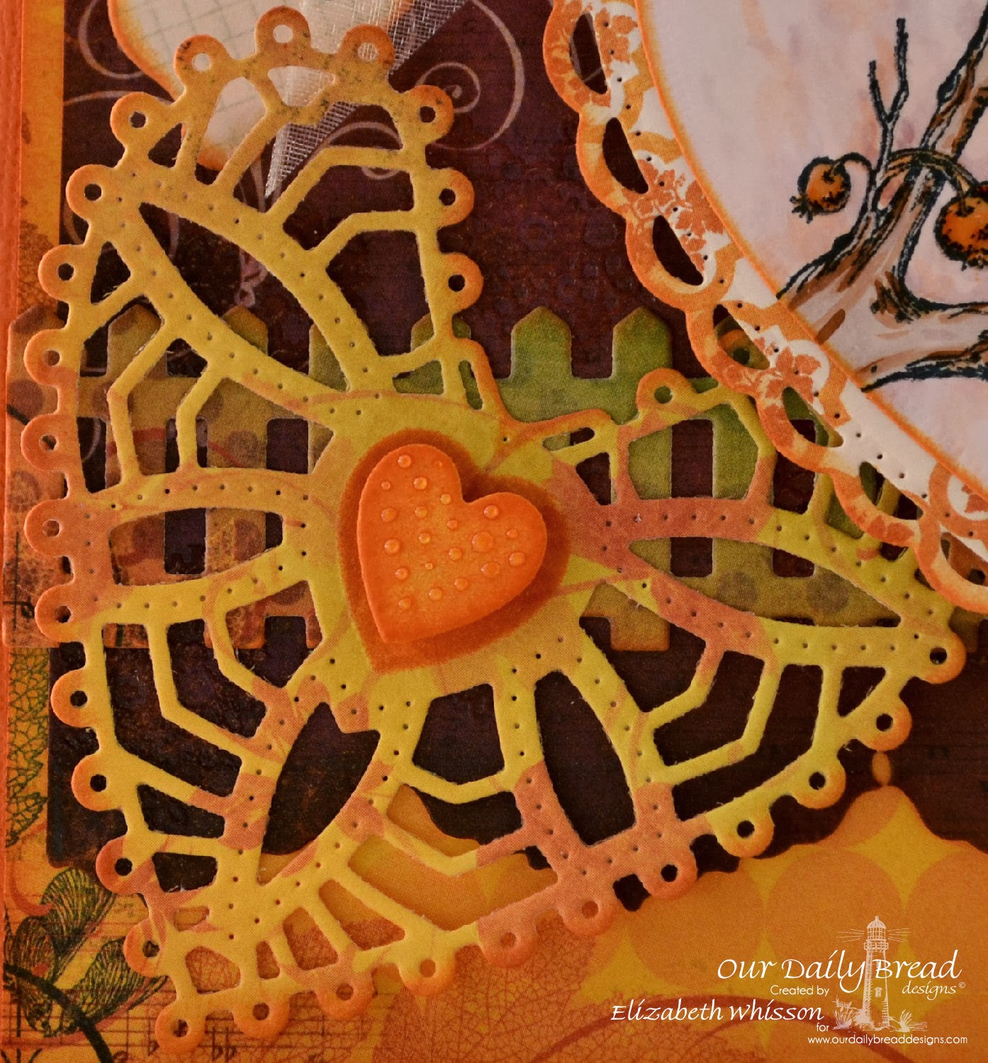 Elizabeth Whisson, Our Daily Bread Designs, Chickadee, Clean Heart, ODBD Fence die, ODBD Ornate Hearts dies, ODBD Ornate Borders and Flowers dies