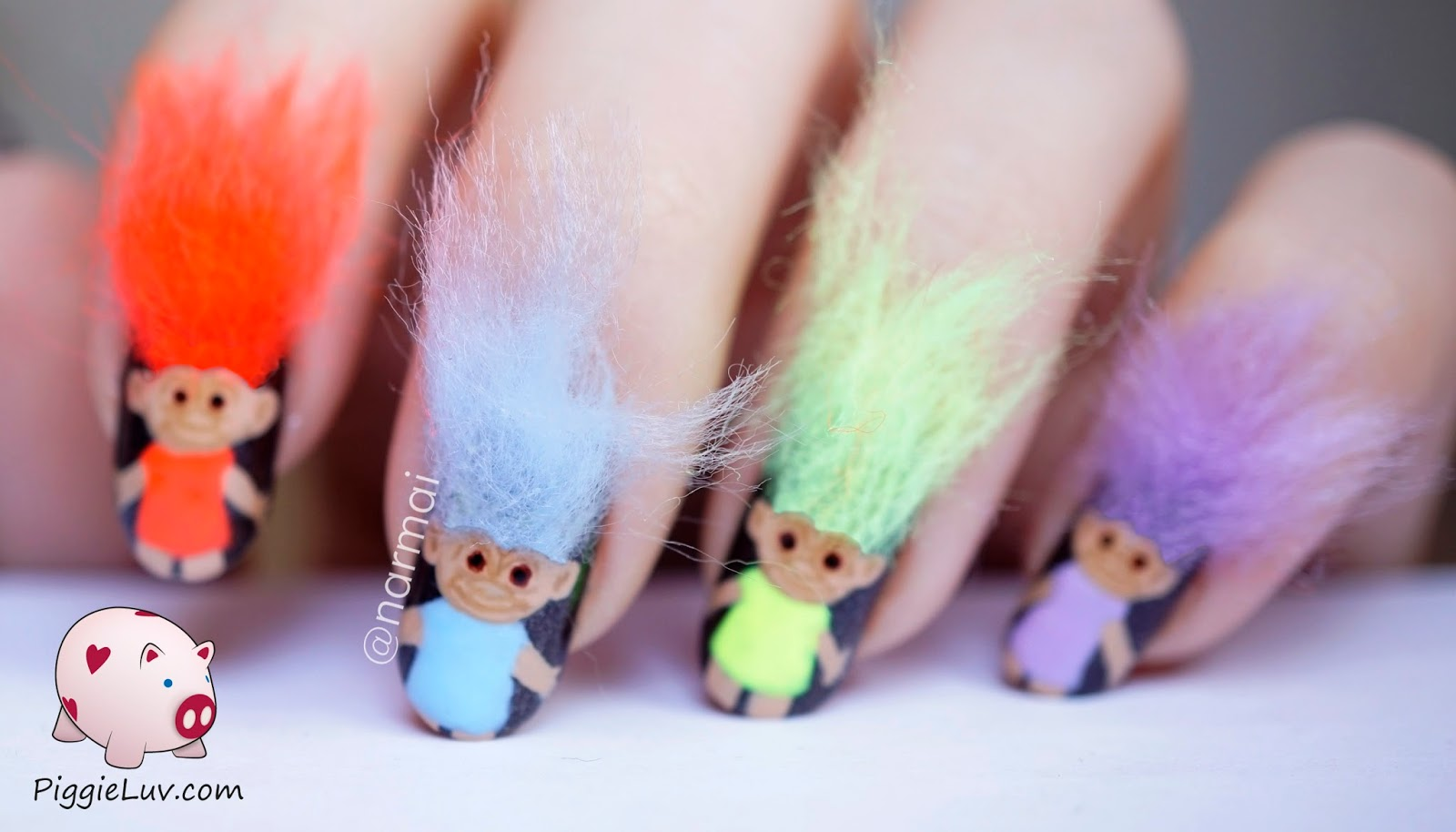 Piggieluv 3d troll dolls nail art but they turned out cute enough to share so voil and ofcourse theres a video too click to see more prinsesfo Gallery
