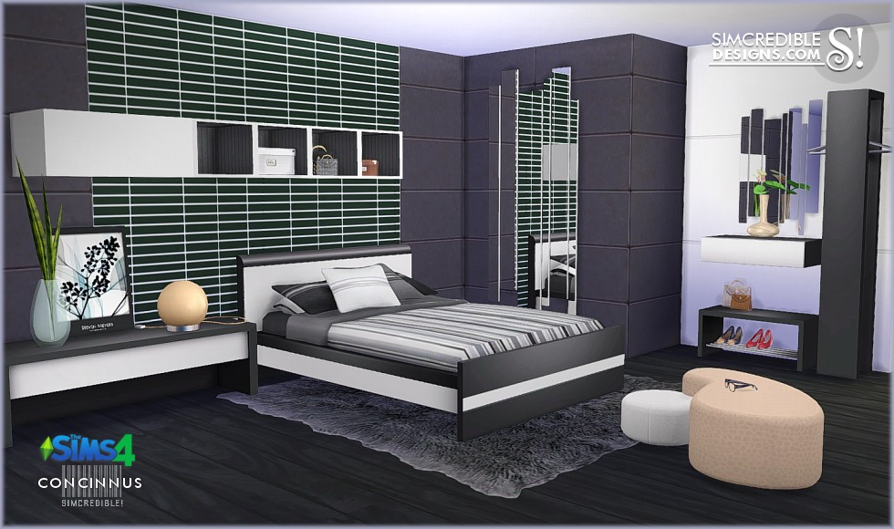 My sims 4 blog concinnus bedroom set by simcredible designs for Bedroom designs sims 4