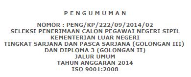 Pengumuman Penerimaan Pendaftaran CPNS Kementrian Luar Negeri 2014