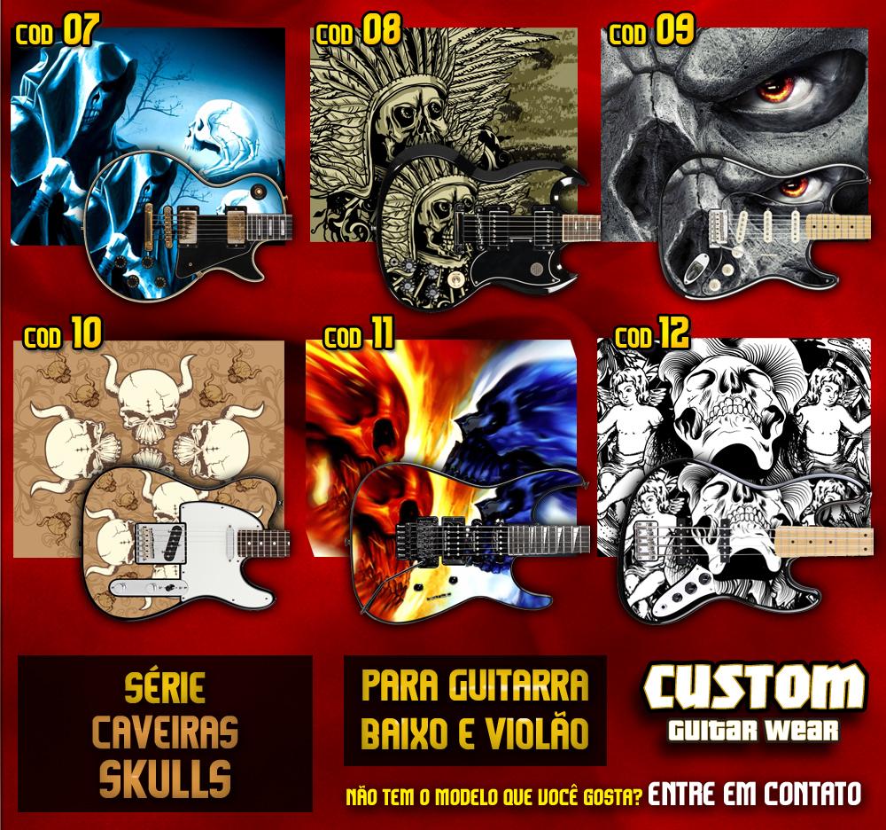 Artesanato Feltro Passo A Passo ~ Modelos Skull Caveiras Adesivos para Guitarra, Baixo e Viol u00e3o