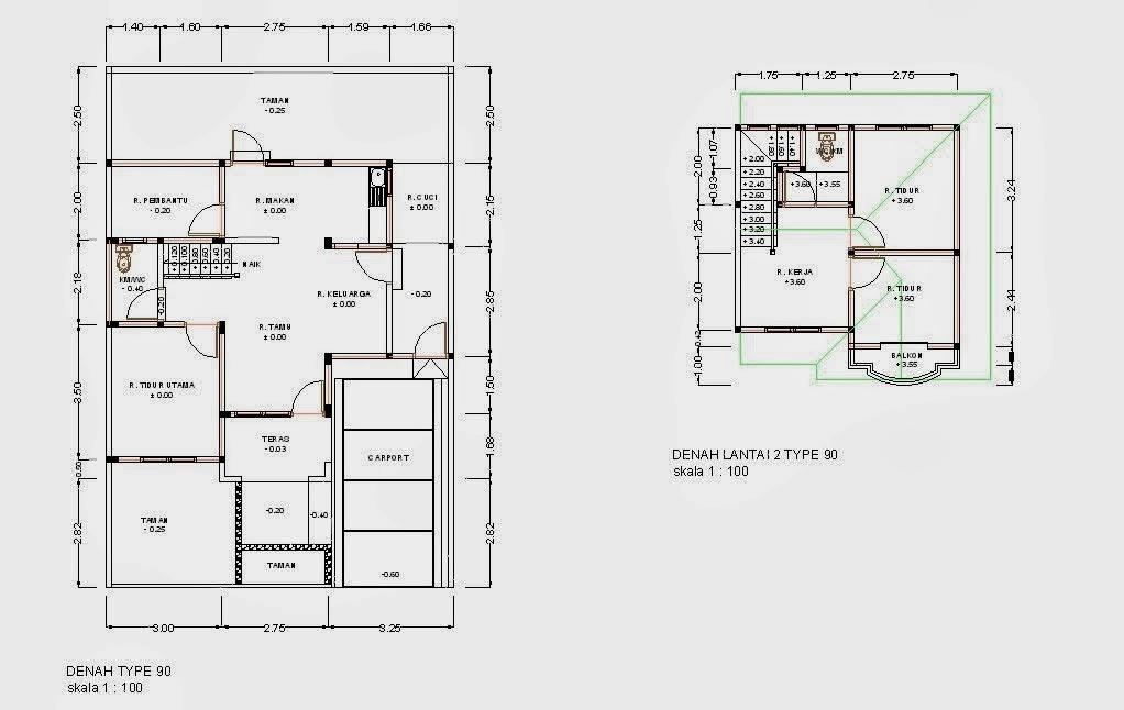 desain dan denah rumah minimalis type 90 desain denah