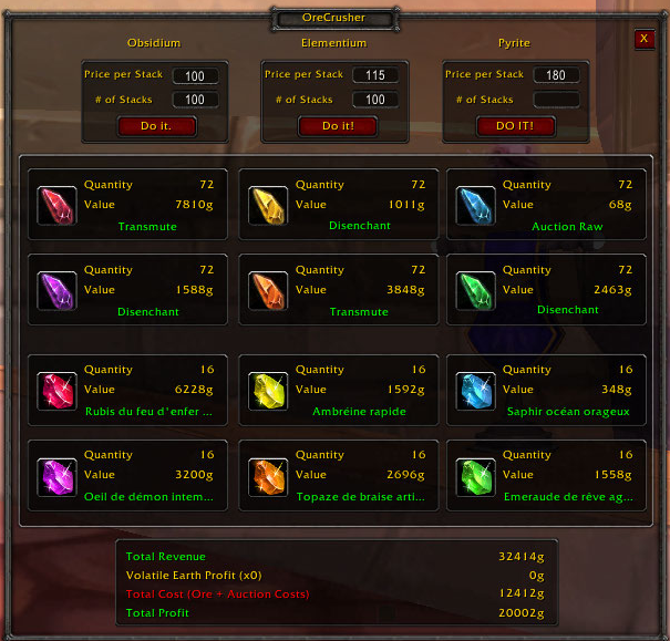 addon world of warcraft pour la prospection
