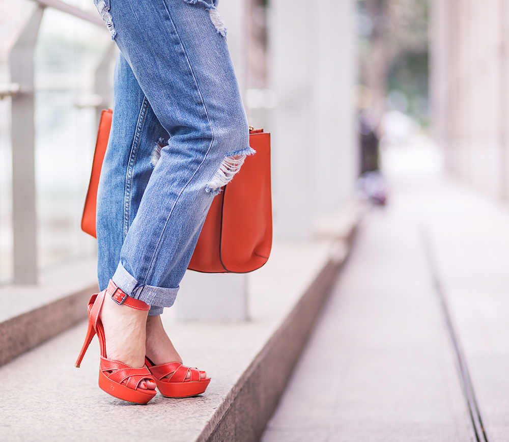 CrystalPhuong- Singapore Fashion Blog- Charles & Keith Orange Sandals
