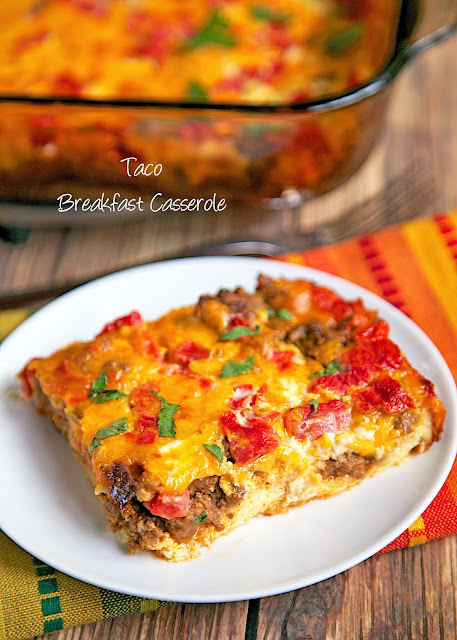 Taco Breakfast Casserole Recipe - Taco meat, eggs, milk, cheese, bread and rotel tomatoes - assemble and refrigerate 8 hours to overnight. SO easy and SOOOO delicious! Perfect for breakfast, lunch or dinner. Would be great for an early morning tailgate!