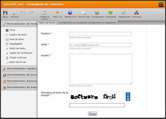 Blogger: Formulario de contacto en una página, JotForm, editar formulario