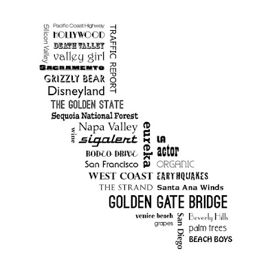 typography map of California with cities