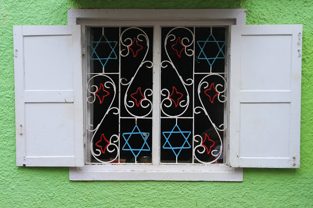 jewish, symbols, kerala, kochi, cochin, india, window, ironwork