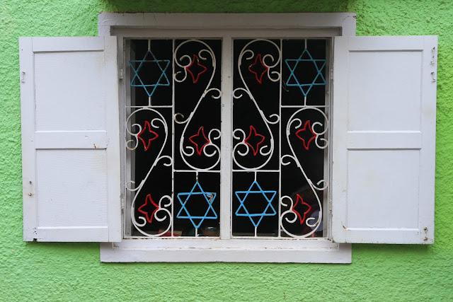 jewish, symbols, kerala, kochi, cochin, india, window, ironwork