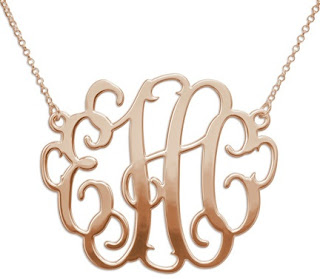 XXL Rose Gold Plated Monogram Necklace