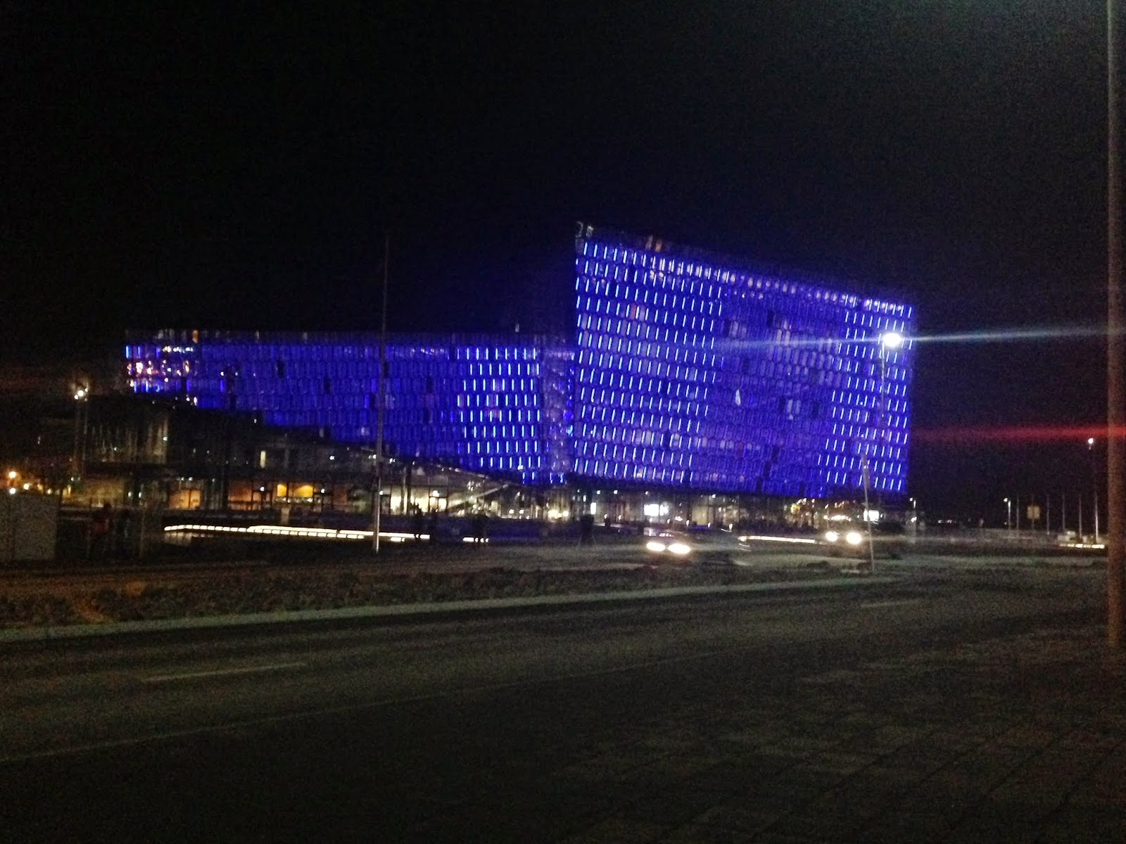 The Harpa concert hall at night