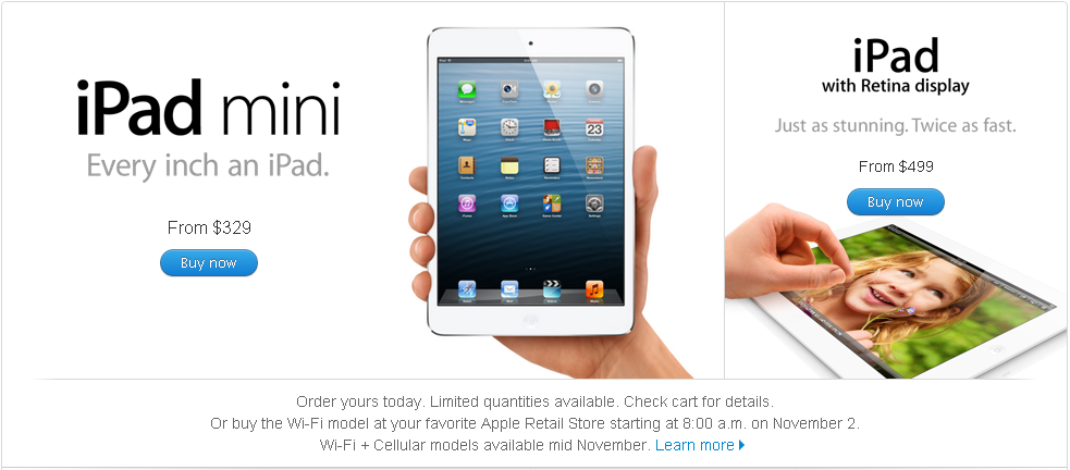 iPad mini and iPad 4 accept pre-order now