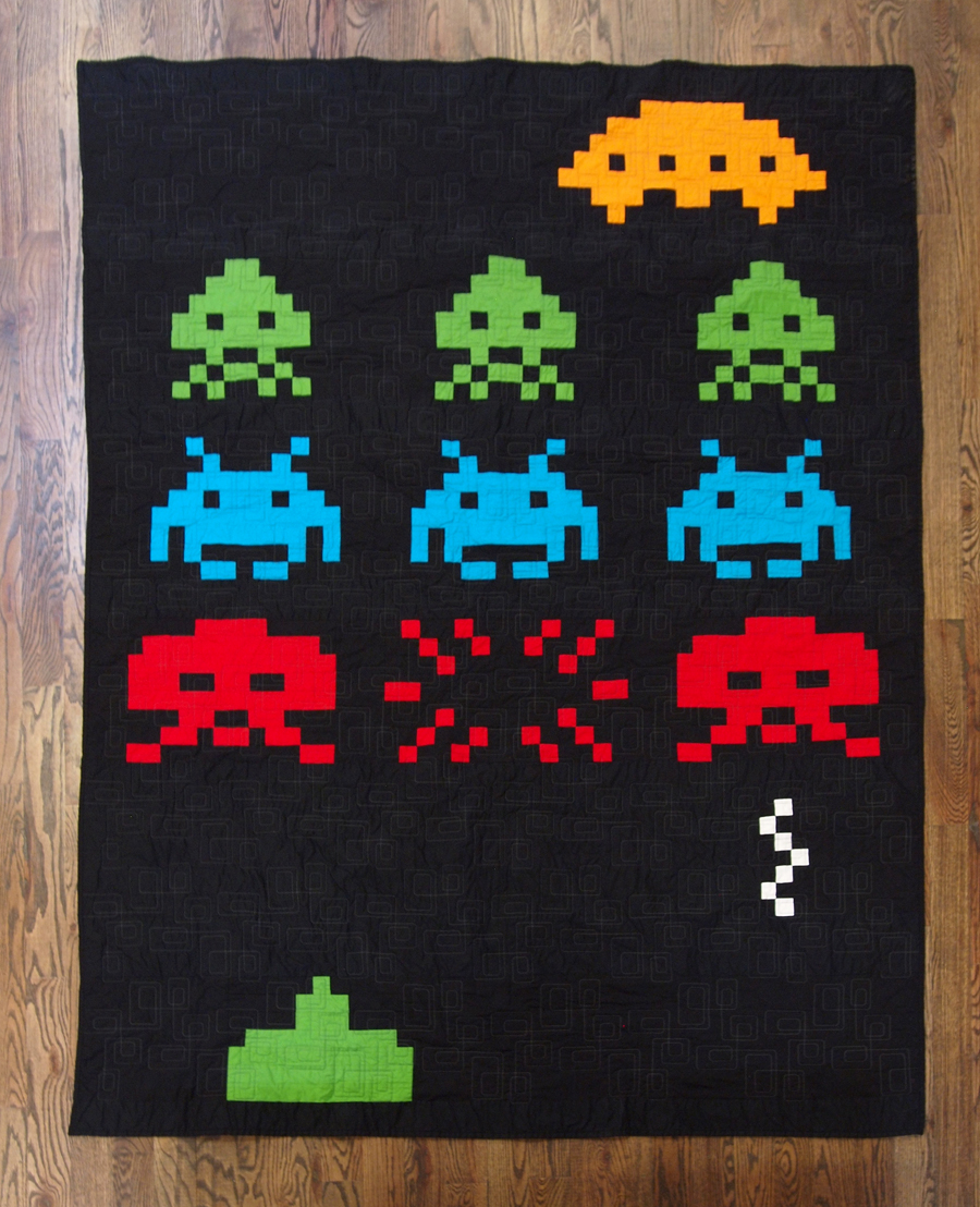 fancy tiger crafts erikia 39 s amazing space invaders quilt