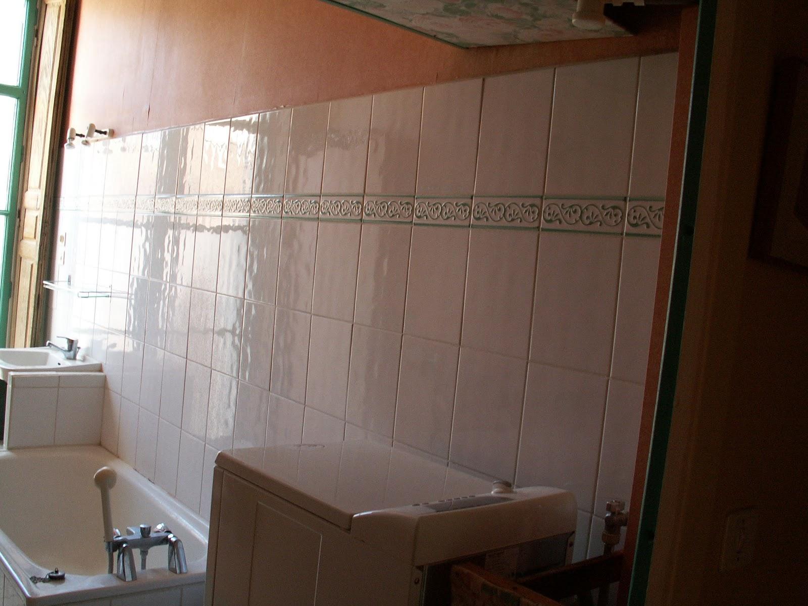 Salle de bain 33x33 noir au sol, fau00efence 25x40 blanche ...