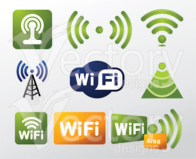 Stock Vector Illustration - 9 WiFi Symbols / Wifi Logo in EPS and CDR