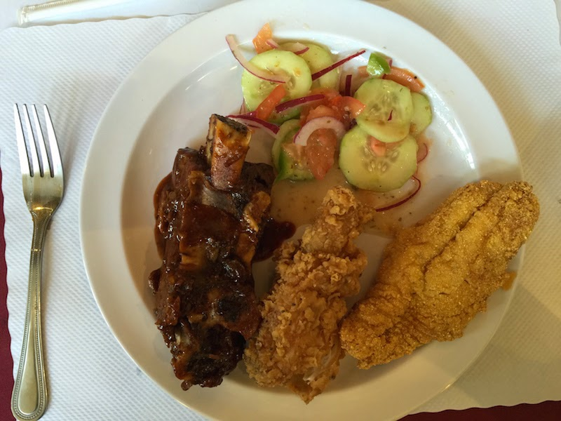Beef ribs, fried chicken, and fried catfish at Souls Restaurant's Sunday dinner buffet in Oakland, CA