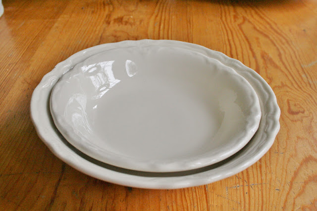 The pattern is a familiar one to me we had a small platter when I was growing up that I blogged about here..... I kind of blamed this platter as the start ... & Ironstone and Pine: White Ironstone Dishes