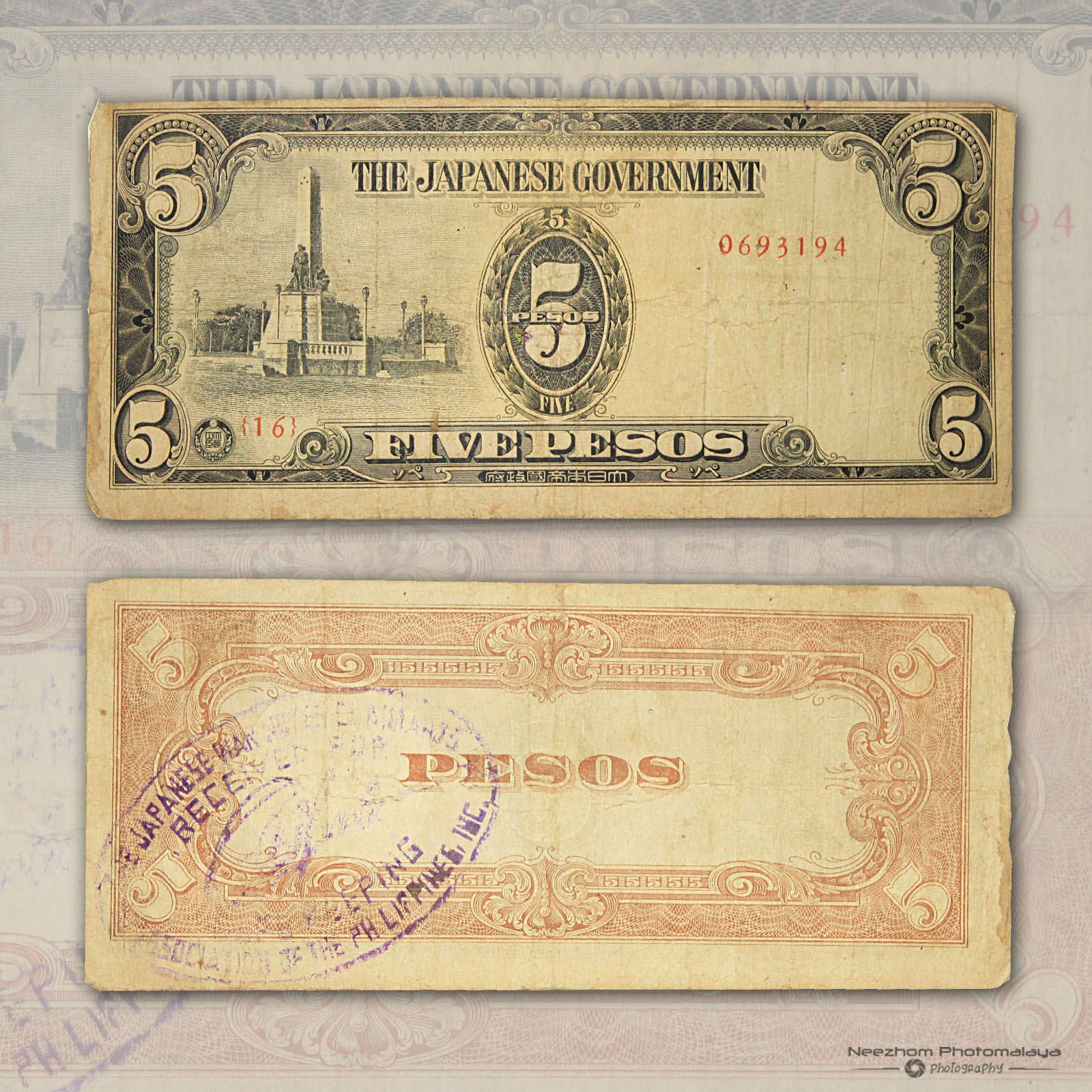 5 Pesos Philippine 1943 Japanese Occupation