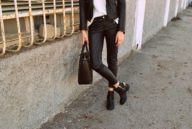 biker ankle boots h&m, studded bag h&m, leather pants h&m hm aw 2013 2014, leather jacket zara, knitted sweater, biker look, all leather look outfit, fashion blogger, blog