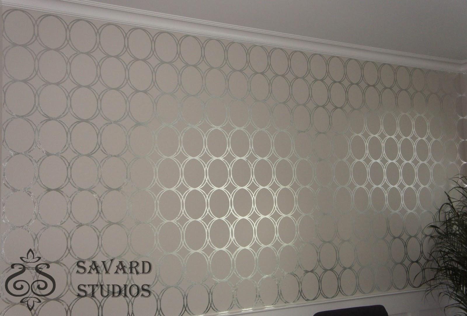 Savard studios contemporary silver circles for Silver grey walls