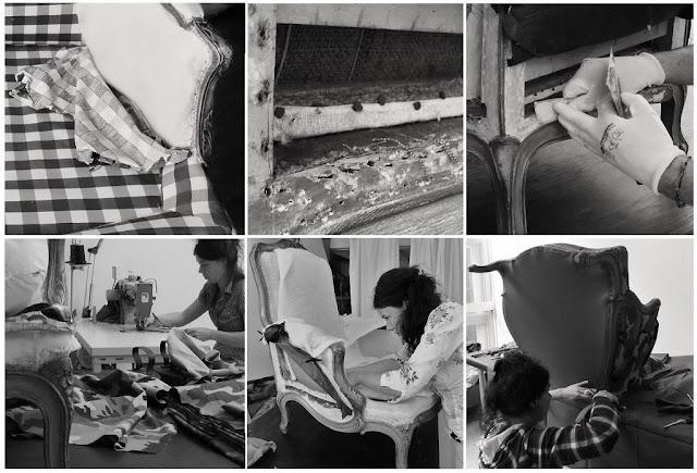 restauratie en stoffering van klassieke fauteuil