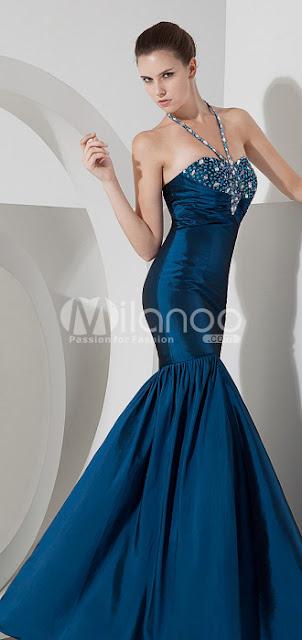 Incroyable Mermaid étage longueur satin bleu robe de bal
