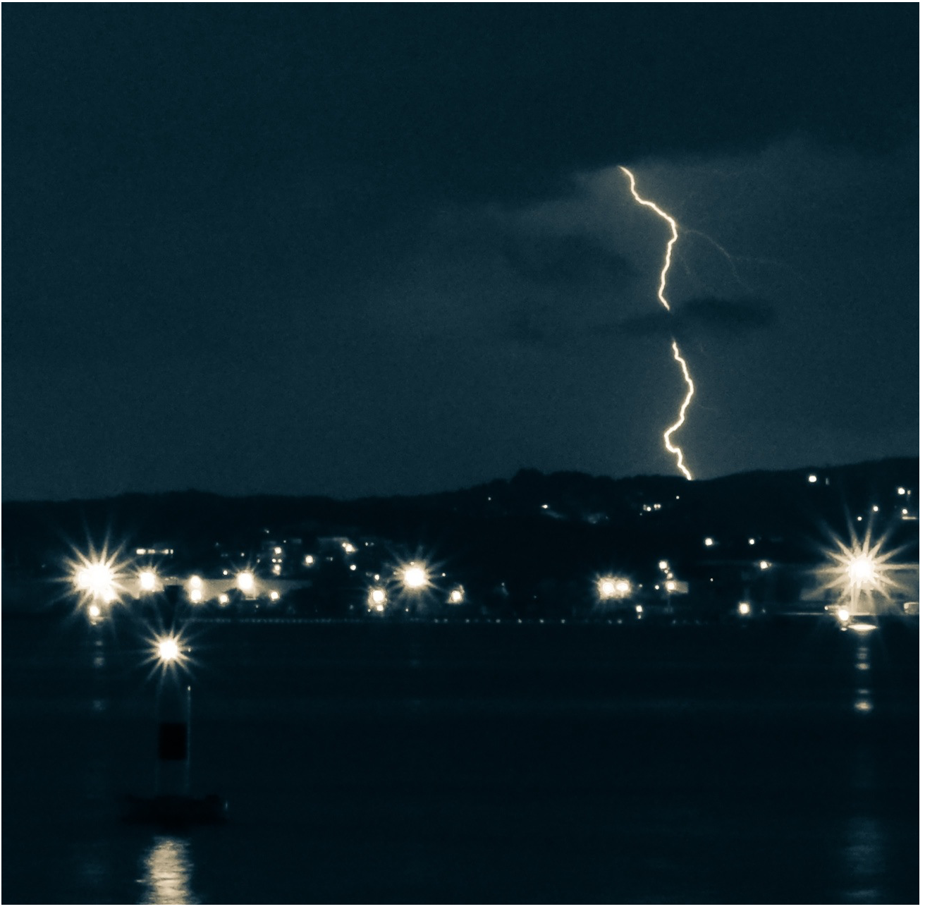 A lightening strike in the night