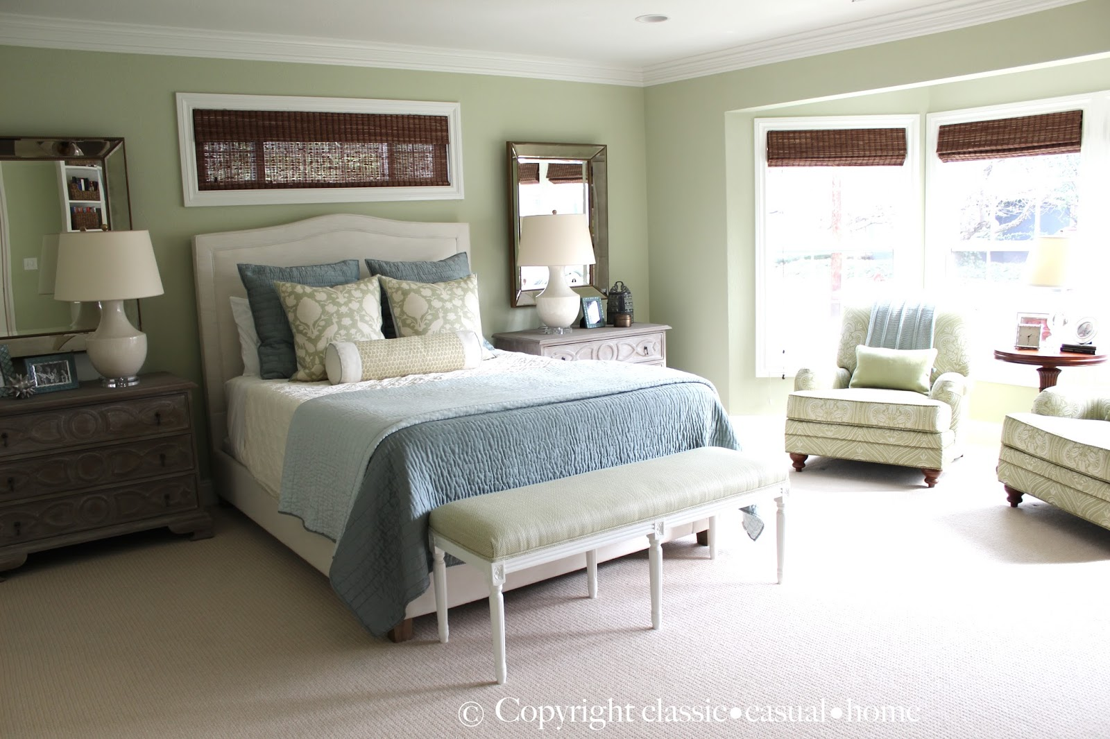 Classic casual home soft green and aqua blue master for Casual master bedroom ideas