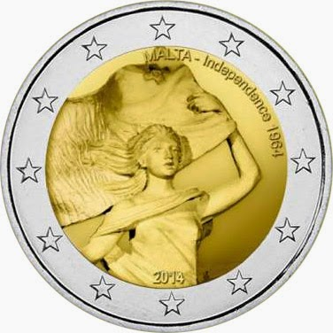 2 Euro Commemorative Coins Malta 2014, 50 Years of Independence from Britain