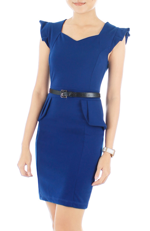 Frill Forte Peplum Dress – Blue