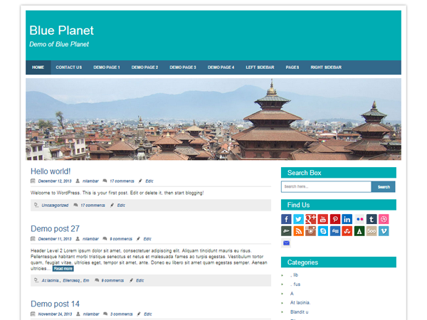 Blue Planet :  WordPress Theme