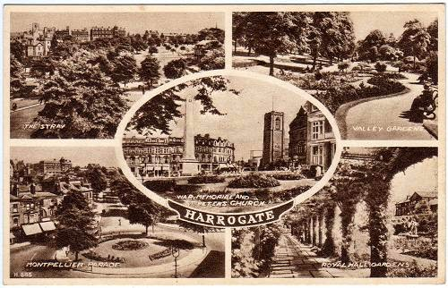 Vintage multiview postcard of Harrogate