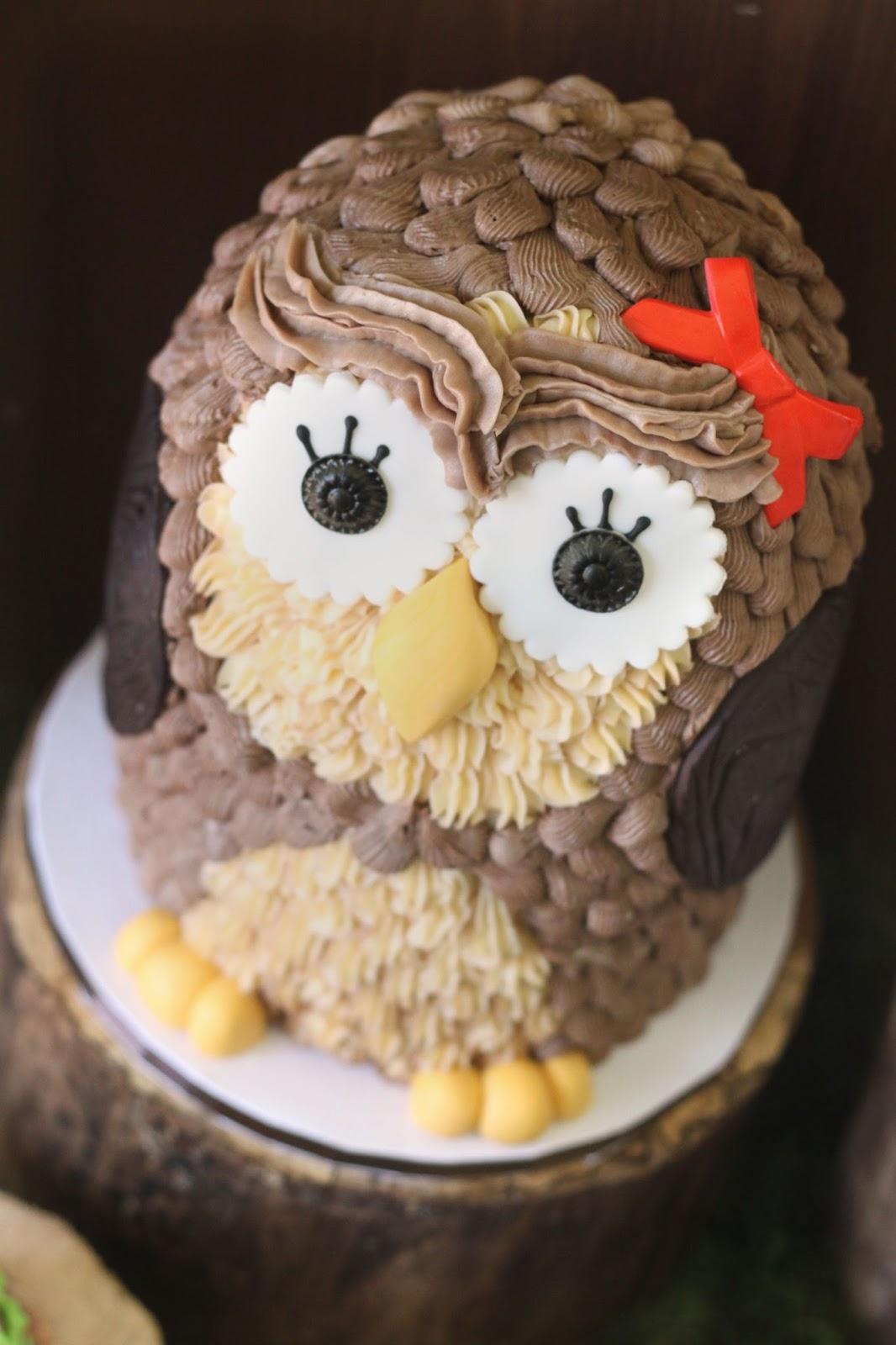 Easy Buttercream Owl Cake