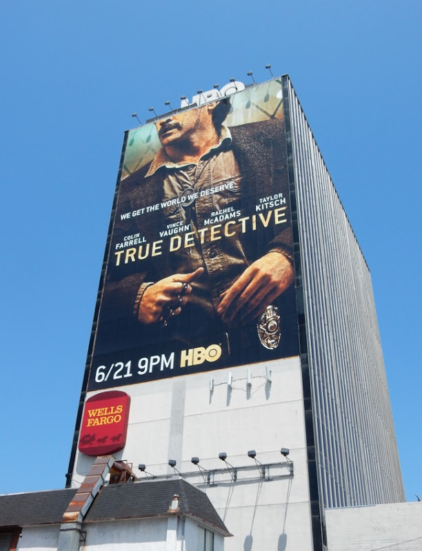 Giant Colin Farrell True Detective season 2 billboard